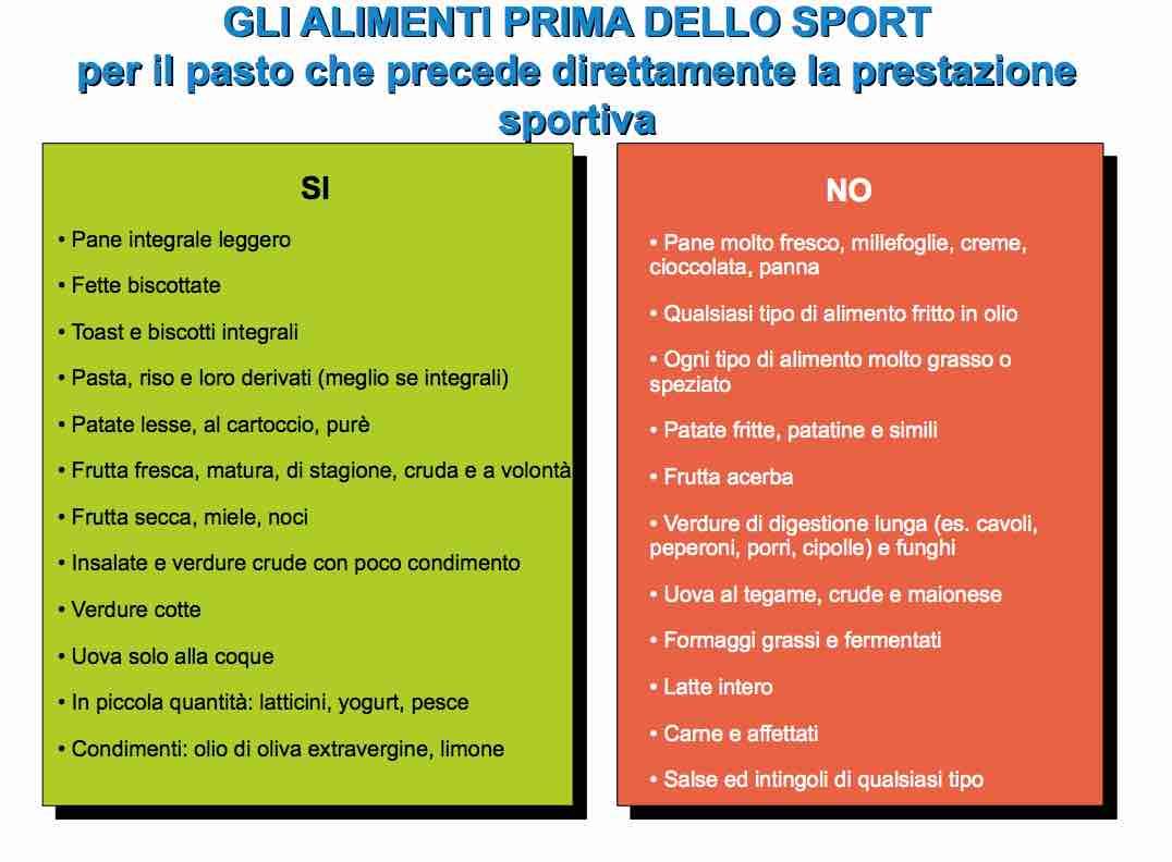 alimenti prima dell'attività sportiva